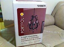 New Portfolio 3 light chandelier Black Finish Laser Cut Construction