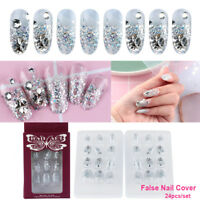 24 Pcs French Nails False Nail Cover Crystal Diamond Silver glitter Nail Tool A+