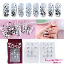 24 Pcs French Nails False Nail Cover Crystal Diamond Silver glitter Nail Tool A+