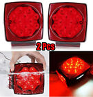 Pair Rear LED Submersible Trailer Tail Lights Kit Boat Truck Waterproof IP68 USA