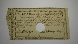 1789 10s Connecticut Pay Table Colonial Currency Note Bill! Ralph Pomeroy Signed