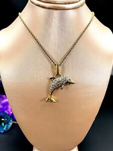 SWAROVSKI 18K GP CHAIN NECKLACE CRYSTAL RHINESTONE UNSIGNED DOLPHIN PENDANT