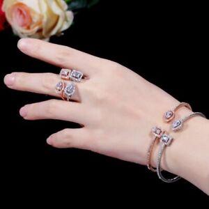 Cuff Bracelet Bangle Rings Earrings For Women Fashion Jewelry Set Accessories