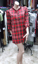 Joseph Ribkoff 10 NWT Delightful Red Tartan Check Long Shirt Top Ruffle Neckline