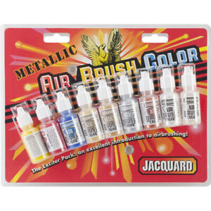 Jacquard Products Metallic Airbrush Exciter Pack .5oz 9/pkg, 8 colors
