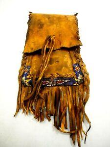 Vintage Native American Fringed Buckskin Beaded Leather Bag