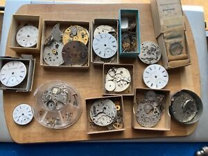 Pocket Watch Movement & Parts Lot, South Bend, Elgin, Waltham