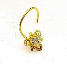 18K Gold Nose Pin Stud Ring Cubic Zirconia Stone Simple Jewel L Band Pattern