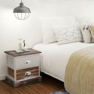 vidaXL Shabby Chic 2 Drawers Bedside Table Cabinet Brown and White