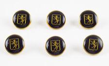 Louis Feraud Paris Vintage Button goldtone black enamel lion logo set 6 pc