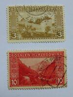 2 Freimarken Bosnien und Herzegowina von 1906, Mi 31 A u. 34 A mit Falzresten