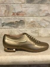 NIB Chanel 15A Gold Lace Up Leather Pearl CC Oxford Loafer Moc Flats 35.5 $1125