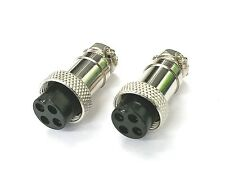 Lot of 2 NEW 4 Pin Female In-Line CB Mic or Ham Radio Microphone Connector