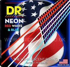 DR Neón nusaa - 10 Rojo Blanco y Azul Fluorescent Cuerdas de Guitarra Acústica 10-48