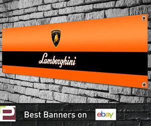 Lamborghini Logo Banner for Garage, Workshop, Sign, Office etc, Orange / Blue
