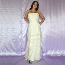 Sin Tirantes Seda Vestido de Novia M 40 Estilo Campana Baile Maxi