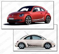 VW Volkswagen Beetle Rally Checkered Side Sport Stripes (Choose Color)