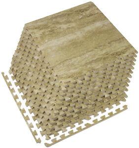 12-Pack Marble Grain Foam Tiles - DIY Installation - Interlocking Floor Yoga Mat