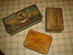 3 x antique vintage cigarette tobacco tins snake charmer salmon and gluckstein w