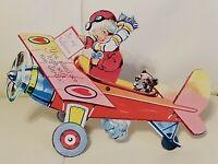 Vintage Mechanical Valentine Card Airplane Dog German Die Cut Embossed Stand Up
