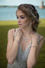 Silver diamante hair head chain matha patti hijab boho grecian prom headpiece