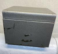 "Vintage Weis All Metal Gray Index Card File Recipe Card box 6.5""x 5""x 5"""