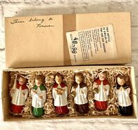 6 Vintage Chalkware Altar Boys Figurines West Germany Montgomery Ward Boxed