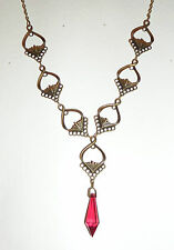 ART NOUVEAU STYLE FACETED RED & DARK GOLD PLATED PENDANT NECKLACE JN