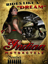 """Funny RETRO METAL PLAQUE : Rides Like a """"DREAM"""" Indian Motorcycles Ad/Sign"""