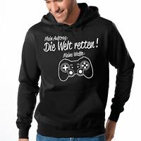 Mein Auftrag Die Welt retten Meine Waffe Gamepad Gamer Kapuzenpullover Hoodie