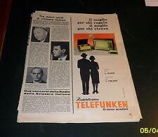 Advertising Italian Pubblicità: TELEFUNKEN RADIO TELEVISIONE *1961*