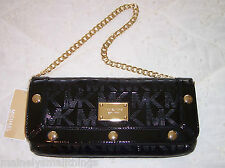 NWT Michael Kors DELANCY DELANCEY Clutch Bag MK Sig Mirror Metallic Black