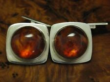 925 Sterling Silver Cufflinks with Amber Decorations / Real Silver/15,1g