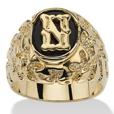 14K GOLD ONYX LETTER N INITIAL NUGGET RING SIZE GP 8 9 10 11 12 13