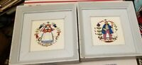 2 vtg framed wheeling tiles dutch shepherd couple in wood frames
