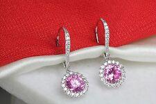 1.89Ct /Pair Pink Sapphire Halo Nickel Free Sterling Silver Leverback Earrings