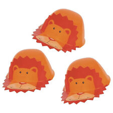 6 Tropical Adorable LION Jungle Wild Animals Party Orange Plastic Caps Hats