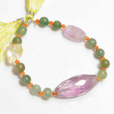 "Natural Amethyst Aventurine Multi Gemstone Smooth & Faceted Beads 7"" Strand"
