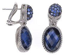 Judith Ripka Blue Oval Synthetic Blue Quart Doublet Dangle Sterling Earrings
