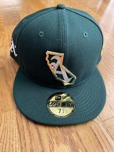 NWT New Era Men's 59Fifty Oakland Athletics Gold CA California Hat Green 7 3/4