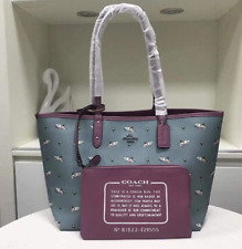 Authentic Coach Shark Reversible City Zip Tote F29555 - Blue/Purple