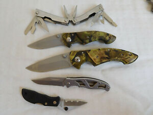 lot of 5 folding knives Swiss style Camo Gerber camouflage