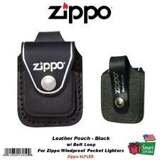 Zippo Belt Loop Black Leather Pouch, For Zippo Windproof Lighters #LPLBK