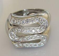 ORO bianco 18ct di seconda mano a forma di serpente Multi Anello di diamanti Taglia o 1/2