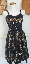 Vintage 50s Metallic Painted Black Velvet sequined Floral Mexican Circle dress