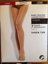 M&s Autograph 7 Denier Bare Cooling Ladder Resist Sheer Toe Tights Cocoa Small