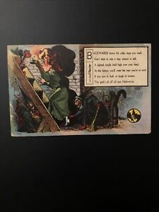 Rare 1909 Nash Halloween Postcard Wicked Witches Black Cat Red Goblin Berkshire