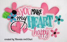 Make Heart Happy girl paper piecing title premade scrapbook page Rhonda rm613art