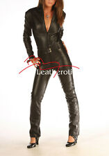 Skin Tight Black Leather Catsuit Jumpsuit Play suit 1235