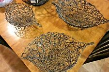 Set of Three (Small, Med & Large) Woven Reed & Metal Leaf-shaped Footed Baskets
